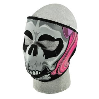 Threat Motorcycle Biker Ski Mobile Neoprene Face Mask   Girl Skull