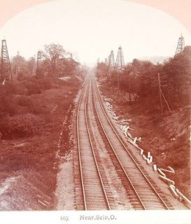 RR Railroad Stereoview Train Track OIL WELL Scio OH Harrison County