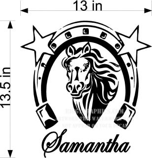 CUSTOM VINYL WALL DECAL YOUR NAME HORSE & HORSE SHOE