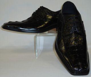 Mens Rich Black Elegance Exotic Croco Embossed Dress Shoes Bolano 6270