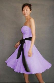 Cute Lilac Strapless Wedding Bridesmaids Prom Party Evening Dress