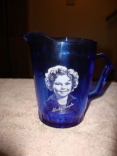 SHIRLEY TEMPLE   COBALT BLUE MILK PITCHER   EXCELLENT CONDITION