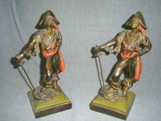 Old Antique 1920 Pair Bronze PIRATE Bookends Book Ends Signed PAUL