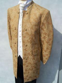MENS GOLD BROCADE NEHRU WEDDING DRESS BOLLYWOOD JACKET