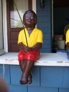 BLACK FISHING BOY STATUE. (LAWN JOCKEY BUDDY) W.FREE BAMBOO CANE