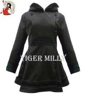 HELL BUNNY SOFIA WINTER VELVET HOODED COAT JACKET BLACK