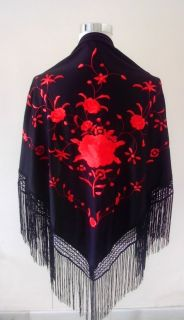 New Beautiful Spanish Flamenco Dance Shawl Black and Red Embroidered