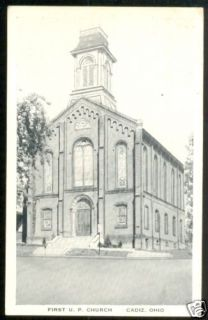 Old CADIZ Ohio Postcard First UP Church Harrison County