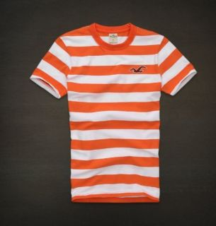 HOLLISTER BY ABERCROMBIE MENS STRIPED T SHIRT WOODS COVE EMBROIDERED