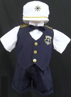 New Baby Toddler Boy kid Navy sailor outfit suit set size 0 1 2 3 4 5