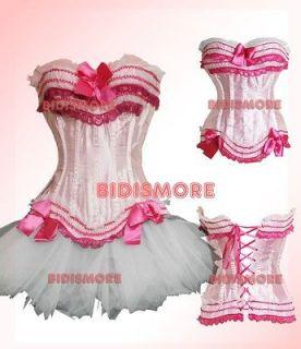 Light Pink Victorian Gothic Corset Top & Skirt S/M/L/XL