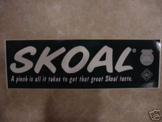 NEW/UNUSED SKOAL BUMPER STICKER