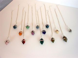 DOUBLE POINT DOWSING PENDULUM, choice of gemstone, crystal healing