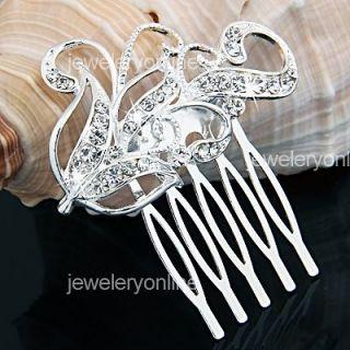 Silver Plated Rhinestone Crystal Leaf Bride Wedding Hair Comb Pin