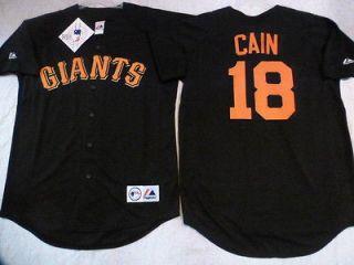 100% Licensed MAJESTIC Giants MATT CAIN SEWN Baseball JERSEY Black NEW