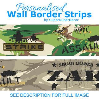 SQUAD LEADER personalised BEDROOM WALL BORDER army wallpaper strips