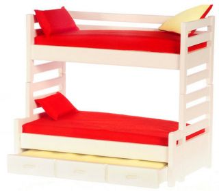 Dollhouse miniature kids triple Trundle Bunk Bed bedroom furniture