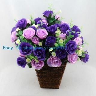 50 PCS Silk Roses Buds Wedding Bouquet Artificial Flowers (Purple) F56