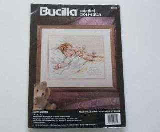 DREAMS Sleeping Baby Personalized Counted Cross Stitch Kit Set Bucilla