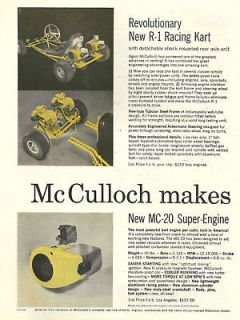 Vintage Beautiful 1960s McCulloch R 1 MC20 Go Kart Ad