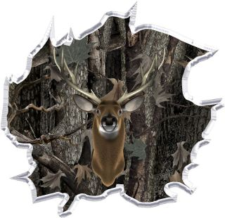 Oak camouflage deer head hunting ripped vinyl graphic decal