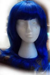 NEW Long Dark Blue w/ Bangs Cosplay Katy Perry Halloween Costume Wig