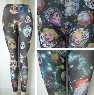 Space / Skull / Marilyn Monroe Print Pattern Leggings S/M (US 4 6 8)
