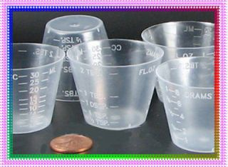 50 1 OZ clear plastic measuring CUPS, marked, RESIN Crafts ALL Purpose