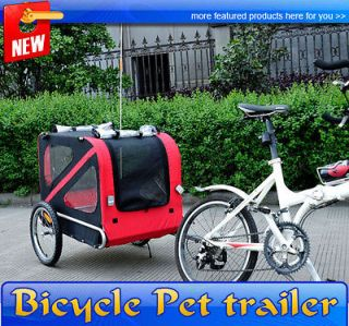 Large Portable Pet Dog Bicycle Bike Trailer Folding Carrier Red Black