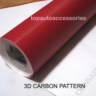 60x20 3D PVC Textured Red Carbon Fibre Vinyl Film Wrap Car Sticker