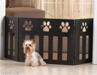 47X19 DECORATIVE FUNCTIONAL WOODEN PAW PRINT DESIGN PET DOG GATE