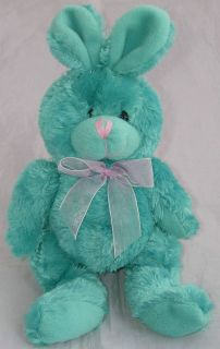 DOLLAR TREE Plush Green Bunny Rabbit Pink Bow Nose Beanbag Stands 9