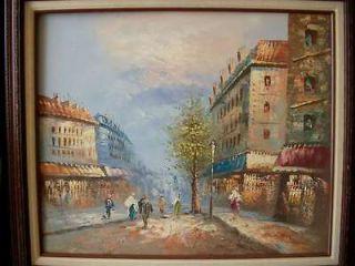 parisian french impressionist burnett paris street scene OIL PAINTING