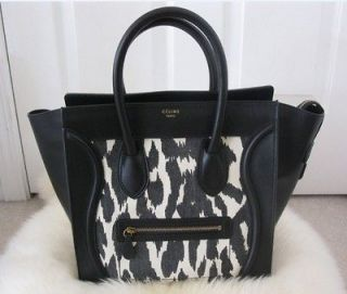 NWT 100% AUTH Celine Black leopard Mini Luggage Tote Bag Resort 2012