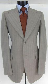 Superb Vintage Nino cerruti Big Lapel Beige stripes Men suit jacket 38