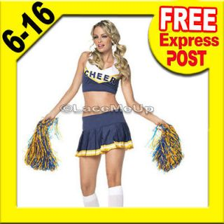 School Girl Cheerleader Costume Fancy Dress Up Uniform Christmas Party