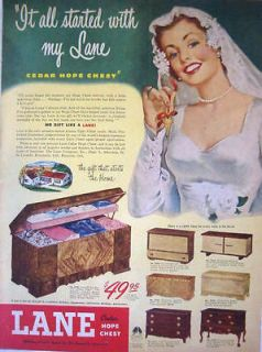 1949 LANE CEDAR HOPE CHEST   BRIDAL SPECIAL   Seven Models Print Ad!