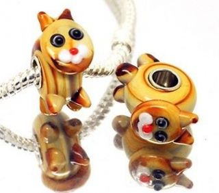Coffee Cat glass beads 925 sterling silver for European charm bead #62