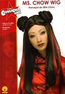 CHINESE Oriental Asian MISS CHOW Womens Black HAIR WIG COSTUME
