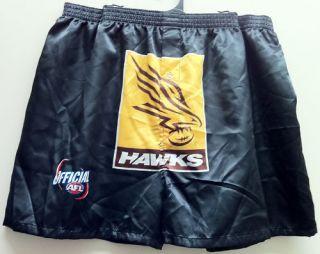 HAWTHORN HAWKS AFL MENS SATIN BOXER SHORTS *NEW