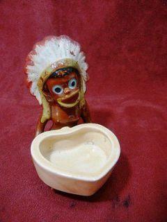VINTAGE BLACK AMERICANA HEART SHAPED TRINKET BOX WITH INDIAN HEADDRESS