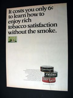 Copenhagen Skoal Happy Days smokeless tobacco print Ad