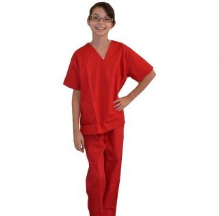 Kids Scrubs Red REAL Childrens Doctor and Nurse Scrub Sets