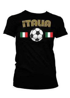 Italia Soccer Ball Football Flag Country Girl T shirt