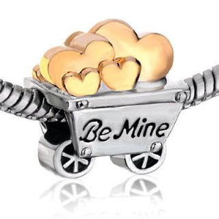 PUGSTER SMALL CART FULL OF HEART BE MINE SILVER TONE CHARM BEAD FOR