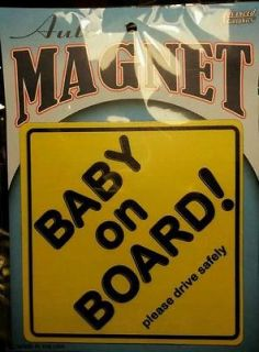 Baby on Board sign magnet decal magnetic Yellow