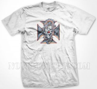Skull, Dragon And Iron Cross  Goth Biker Steel Iron Cross  Mens T