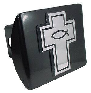 CHRISTIAN FISH ON CROSS BLACK USA TRAILER HITCH COVER