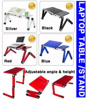 portable folding LAPTOP TABLE desk stand tray adjust angle 4 tablet pc