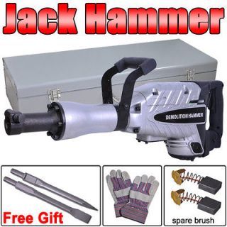 Insulated Motor Electric Demolition Jack Hammer 2x Chisel Concrete